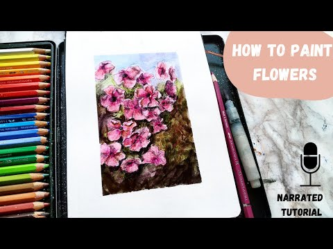 , title : 'How to paint flowers with watercolor pencils