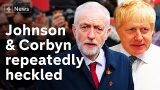 Johnson and Corbyn heckled during visits