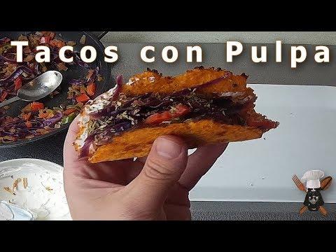 Tacos con Pulpa. Tacos de Vereduras con tortita de pulpa de Fruta
