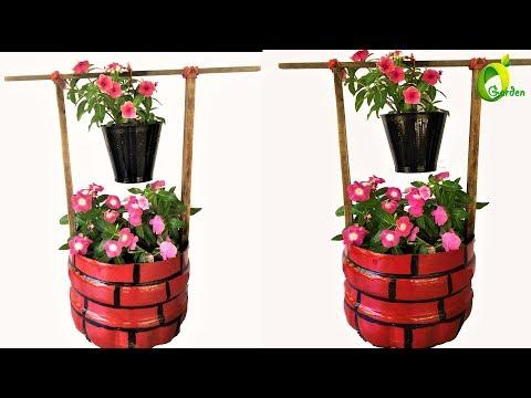 flower garden ideas/plastic bottle planter /well model garden/organic garden
