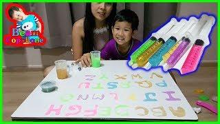 น้องบีม | เรียนรู้สี เขียนสไลม์ ABC Slime