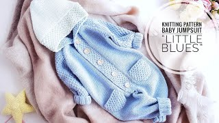KNITTING PATTERN Baby Jumpsuit/Onesie Little Blues / 4 Sizes (review)