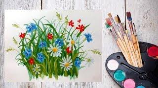 Смотреть онлайн Как поэтапно нарисовать цветы гуашью