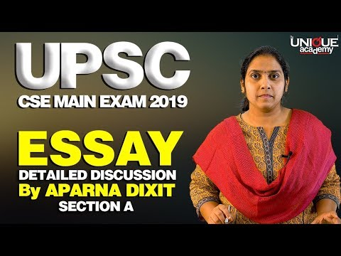 UPSC CSE MAIN EXAM 2019 - Essay Detailed Discussion By Aparna Dixit | SECTION A