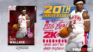 NBA 2K19 MYTEAM NEW 20TH ANNIVERSARY PINK DIAMOND 96 OVERALL BEN WALLACE IN PACKS FULL STATS IN VID