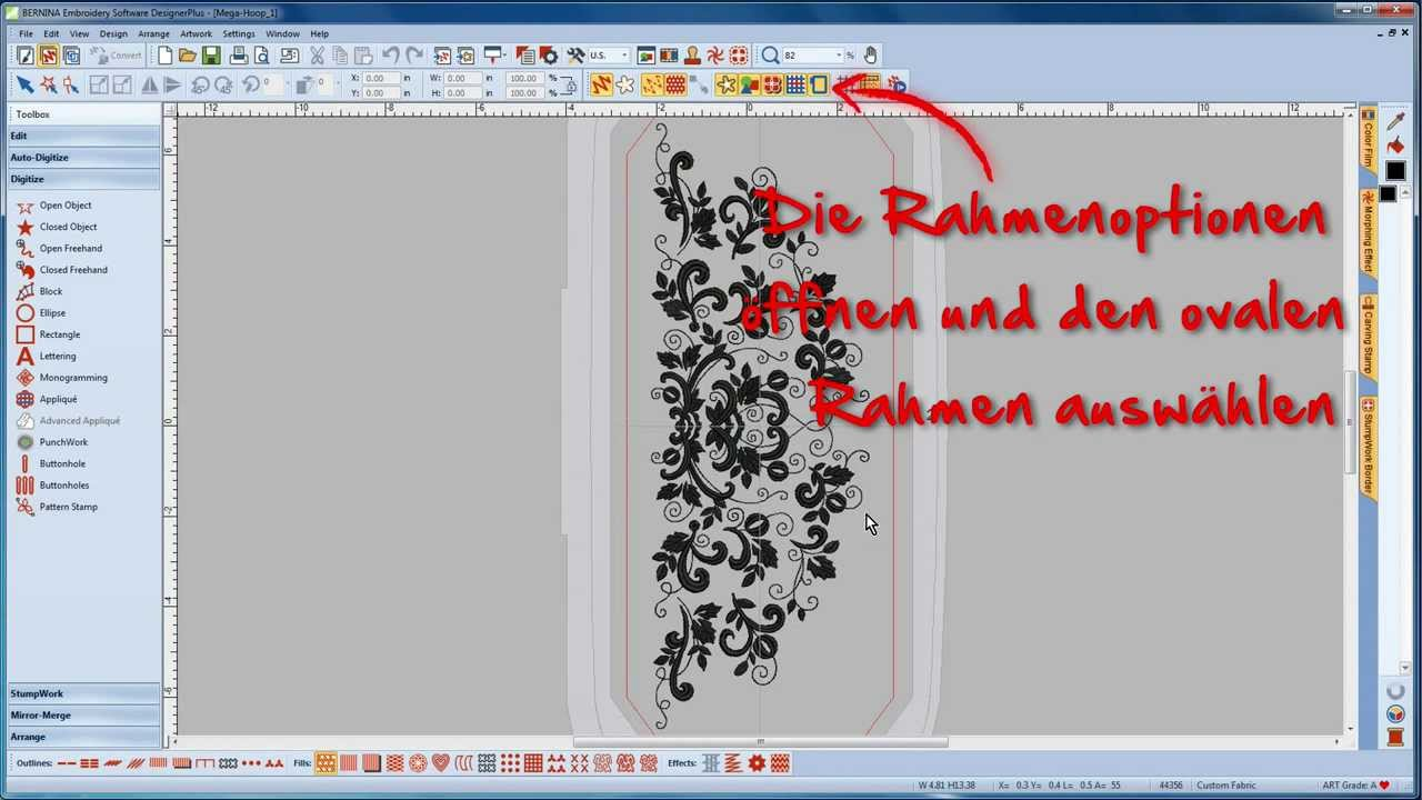 BERNINA Sticksoftware 7 Tutorial 11/12 - Erstellen eines Multihoop-Designs