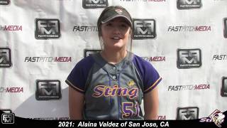 2021 Alaina Valdez Pitcher Softball Player Skills Video - San Jose Sting - Perales