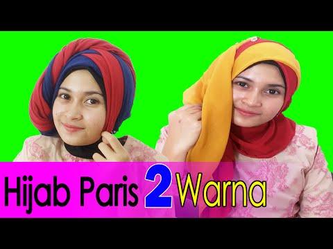 Video 2 Cara Memakai Jilbab Paris Segi Empat Dua Warna by #AWMCollection