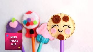 4 Cute Felt Pencil Toppers Supplies For Back To School / Felt Crafts.