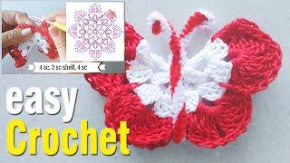 Easy Crochet: How to Crochet a Butterfly. Free crochet butterfly motif pattern & tutorial.