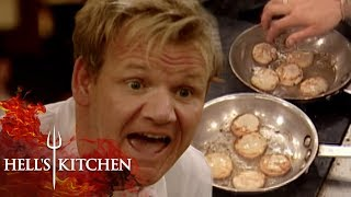 Gordon FLIPS OVER CHEF NOT USING A NON-STICK PAN | Hell's Kitchen