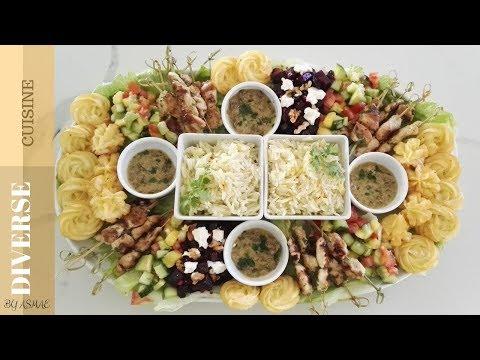 طبق متكامل بمذاق رائع وتقديم راقي Chicken and Salad platter