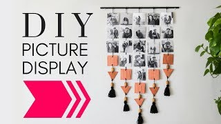 DIY Hanging Picture Display , Photo Wall Decor DIY,  DIY Wall Decor,