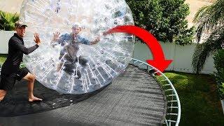 ZORB Ball Stunts in our Backyard Trampoline Park!!