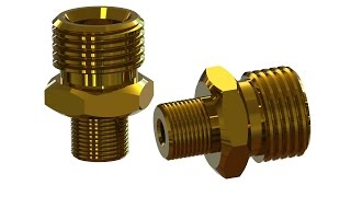 SolidWorks Tutorial T-type Brass fitting - hmong video