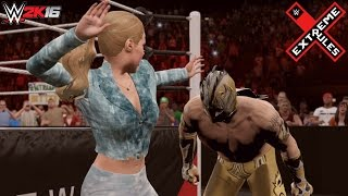WWE 2K16: Extreme Rules 2016 - Rusev vs Kalisto (Lana helps Rusev win the US Title)