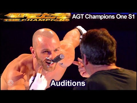 Alexandr Magala Sword Swallower FALLS w SWORD IN MOUTH | America's Got Talent The Champions One AGT (видео)