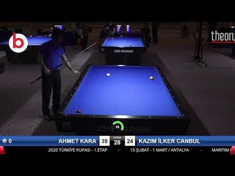 AHMET KARA & KAZIM İLKER CANBUL Bilardo Maçı - 2020 TK 1.ETAP ANTALYA-FİNAL 1/16
