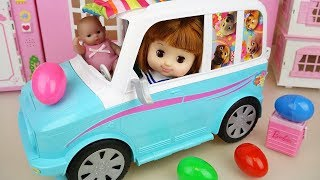 Baby doll camping car and surprise eggs toys play