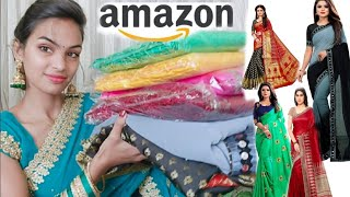 Latest Trendy Designer Saree Haul    Amazon Online Shoping Haul By Priya Deep