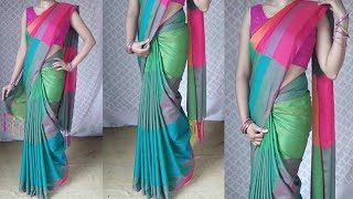 How to wear silk sare with perfect pleats | cotton silk saree draping | silk saree wear to look slim