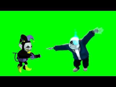 Sans and Jevil doing the Fortnite default dance together