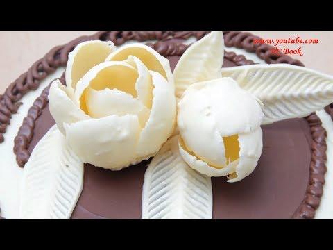 Цветы из шоколада. Изделия из шоколада. Шоколадные украшения на торт