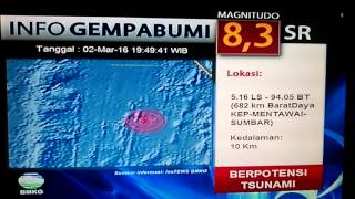 Breaking News GEMPA BUMI 83 SR KEP MENTAWAI SUMBAR POTENSI TSUNAMI