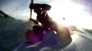 preview picture of video 'Surfing little waves with kayak in El Portet - Moraira'