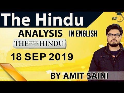 English 18 September 2019 - The Hindu Editorial News Paper Analysis [UPSC/SSC/IBPS] Current Affairs