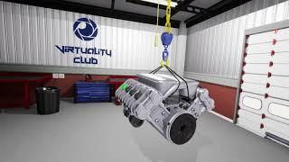 Обучение в VR виртуальной реальности с помощью HTC Vive, разбор макета автомобильного двигателя V8