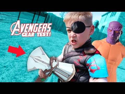 THOR's NEW Gear Test! Avengers Infinity War Movie Kids Challenge & Toys Review!