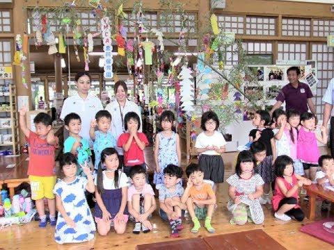 道の駅阿蘇で保育園児たちが七夕の飾りつけ