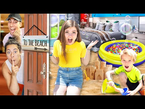 We turned their Hotel Room into a BEACH PRANK on ThatYouTub3Family! (Ball pit and Squishy vs Food)
