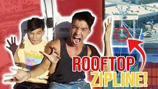 Had to FORCE HIM to do this! **HOTEL ROOFTOP ZIPLINE**