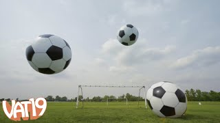 Huge Soccer Ball Filled with Helium (Burning Questions: Giant Soccer Ball)