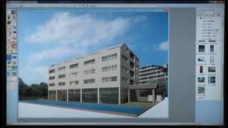 Piranesi6.1動画オフィス外観パース作成1-1