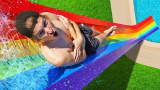 100 Layer Rainbow Duct Tape Water Slide! *BACKYARD WATER PARK*