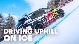 Mattias Ekström Drives Up World`s Most Challenging Ski Slope
