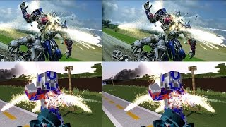 TF4: Optimus Prime Vs Galvatron In Minecraft  Side By Side Comparation