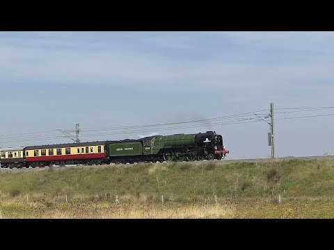 LNER A1 60163 'Tornado' crosses Hitchin flyover with 'The Ea…