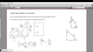 Special Right Triangles - Exact Answers