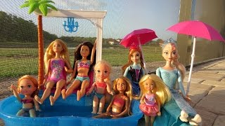 POOL Fun ! Ice Prank - Elsa & Anna toddlers - Barbie's New Car - Swimming - Splash - Water - Slide