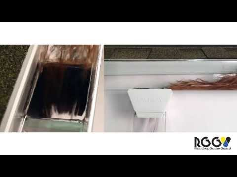 Pine Needle Test on RainDrop Gutter Guard Wide Mouth Downspout Outlet