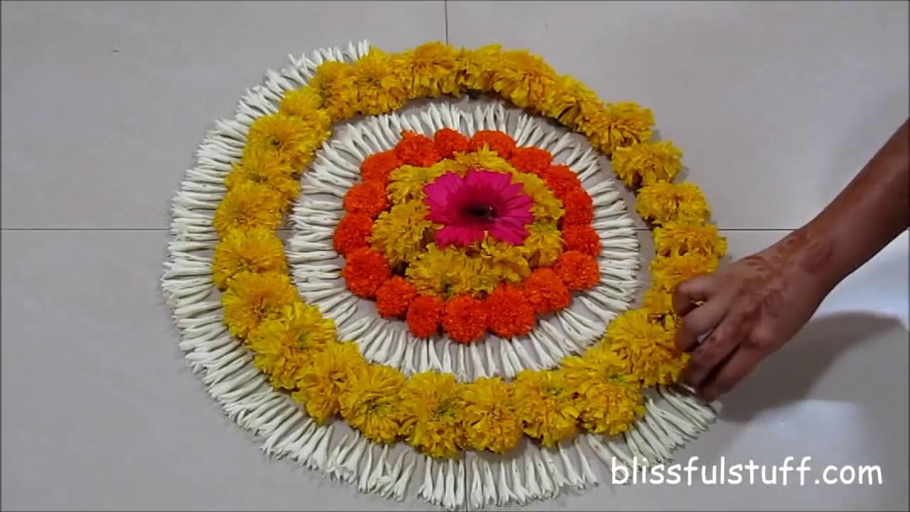how to make onam pookalam design by poonam borkar