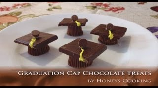 Graduation Cap Chocolate Treats. Cute Graduation Recipe. Very Easy. Takes Less Than 5 Minutes