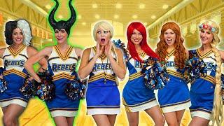 Cheerleader Team for Disney Princesses Elsa, Ariel, Rapunzel, and Tiana. With Maleficent & Cruella?