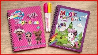 ĐỒ CHƠI SÁCH TÔ MÀU MA THUẬT BÚP BÊ LOL & NGỰA UNICORN - Magic water book toys for kids (Chim Xinh)