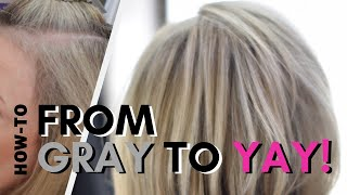 Foil Highlight With Gray Blending Root Smudge :: HOW-TO Blending Gray Hair