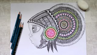 Cute Banjara Girl (Theme)  | Zentangle Patterns | Mandala | Mandala Art | Doodle Art |
